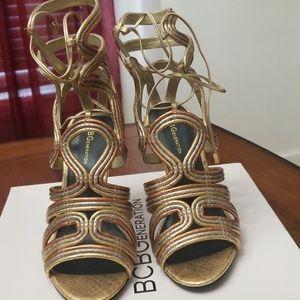 Gold multi color BCBG Heels
